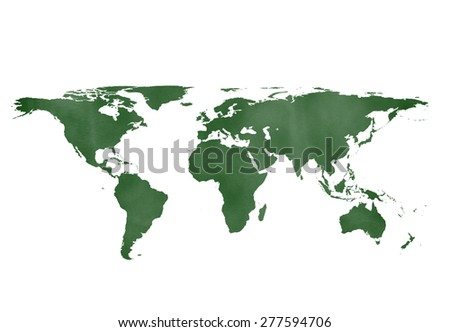 green chalkboard world map isolated on white backgrounds. - stock photo