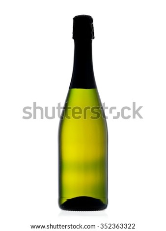Green champagne bottle with backlight only - stock photo