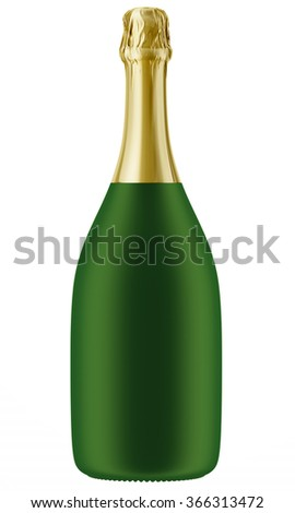 Green Champagne or sparkling wine bottle isolated on white background. 3D Mock up for you design.