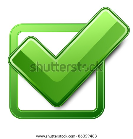 Green check box with check mark - stock photo