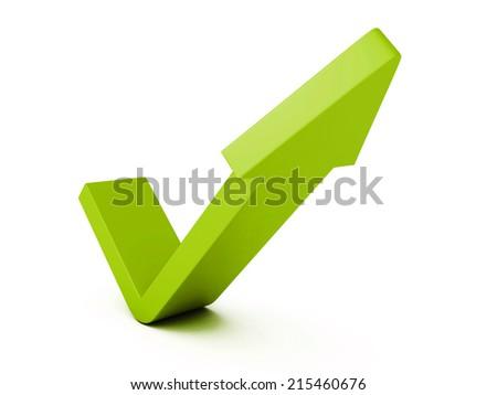 green check mark arrow on white background. 3d render illustration - stock photo