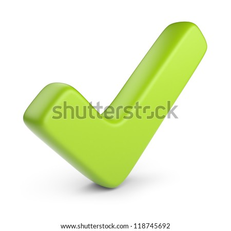 Green check mark. 3D Icon isolated on white background - stock photo