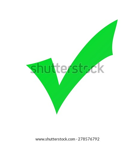 Green check mark  isolated on a white background. - stock photo