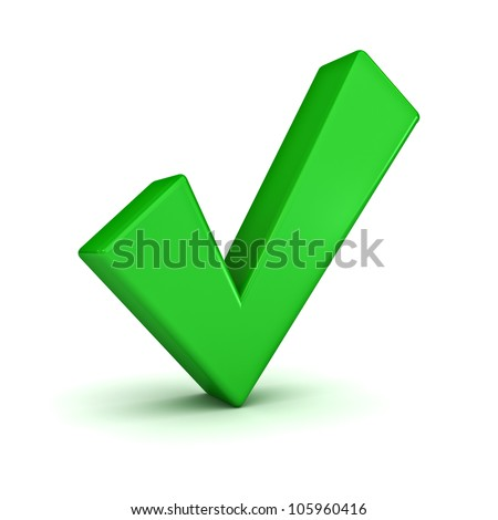 Green check mark on white background - stock photo