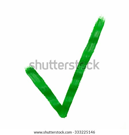 Green check mark painted, isolated on white - stock photo