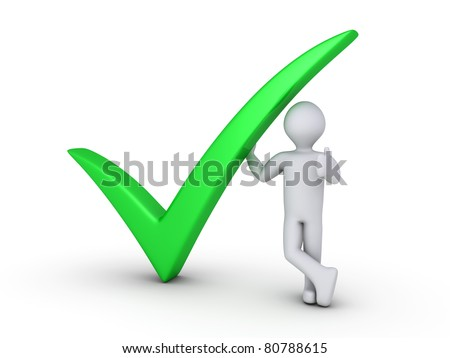 Green check mark with 3d man - stock photo