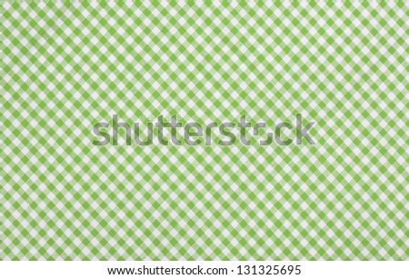 Green Checkered Fabric Closeup , Tablecloth Texture