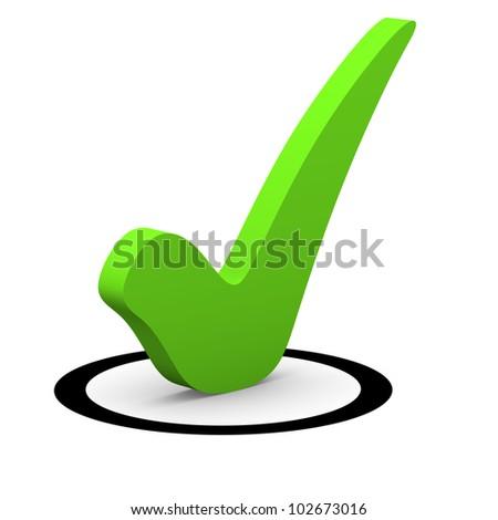 Green checkmark in round checkbox - stock photo
