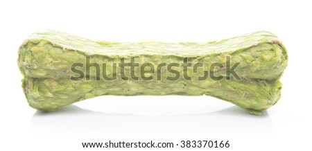 Green Chew Bone for Dog on White background Made from Natural Material - stock photo