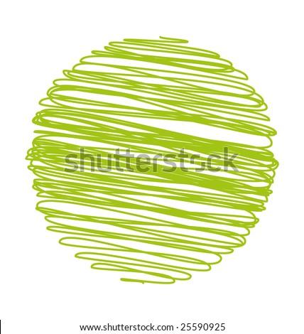 Green children hand-drawn world - stock photo