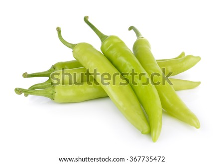 green chili pepper on white background