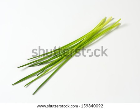 Green chive on white background - stock photo