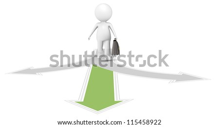 Green Choice. 3D little human character the Business man at a crossroad. One green. People series. - stock photo