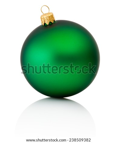 Green christmas ball Isolated on white background - stock photo