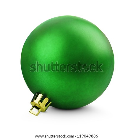 Green christmas ball isolated on white with clipping path - stock photo