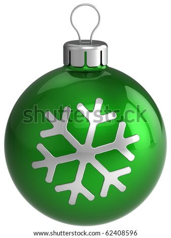 Green Christmas ball. New Year bauble. Wintertime icon concept. Traditional Xmas bauble silver snowflake shape. Detailed 3d render. Isolated on white background - stock photo