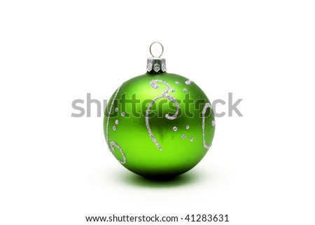 Green christmas ball with silver pattern isolated on white background - stock photo