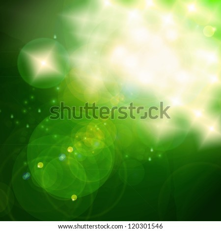 Green Christmas Bokeh, out of focus lights and lens flares - stock photo