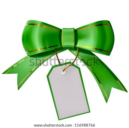 Green Christmas bow with label on white background - stock photo