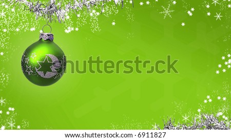 Green Christmas card with ornaments and snowflakes - stock photo