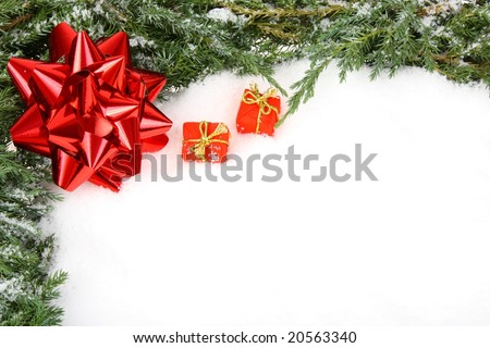 Green Christmas frame with red bow ribbon - stock photo