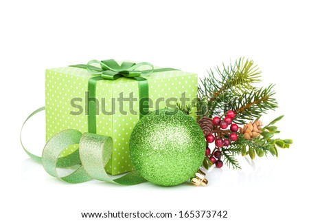 Green christmas gift box, decor and tree. Isolated on white background - stock photo