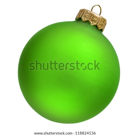 green christmas ornament . Isolated over white. - stock photo