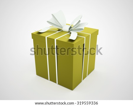 Green christmas present with ribbon rendered
