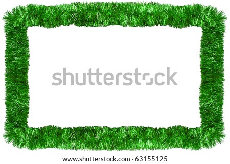 Green Christmas tinsel garland, forming a rectangular frame with center copy space, isolated on white background - stock photo