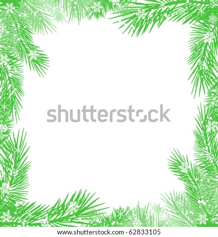 green christmas tree branch frame on white background