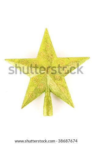 Green Christmas tree top star isolated on white background - stock photo