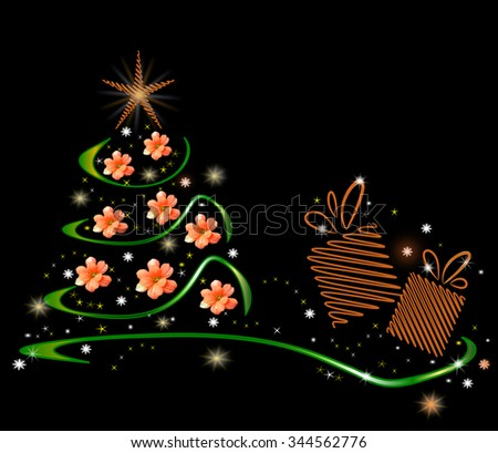 Green Christmas tree with glowing stars, flowers and present box on black background