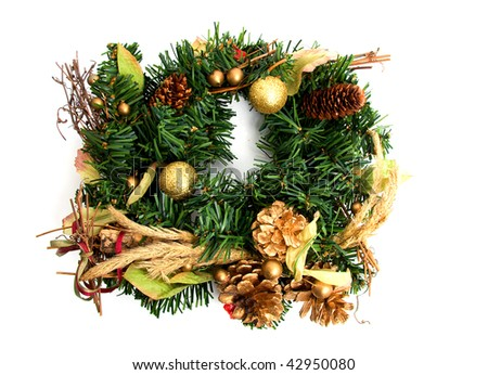 green christmas wreath isolated on white background - stock photo