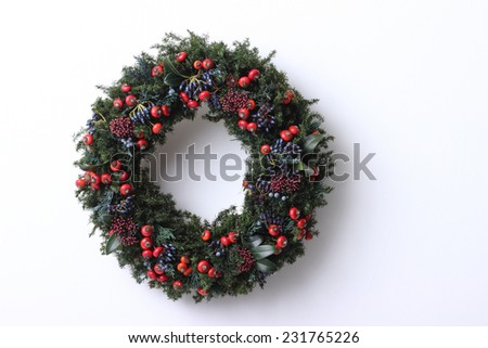 green christmas wreath on white background  - stock photo