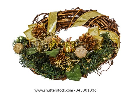 Green christmas wreath with decorations, isolated on white background