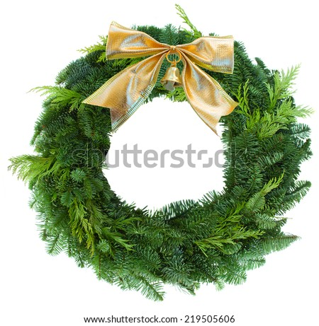 green christmas wreath with golden bow  isolated on white background - stock photo