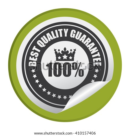 Green Circle 100% Best Quality Guarantee - Product Label, Campaign Promotion Infographics Flat Icon, Peeling Sticker, Sign Isolated on White Background  - stock photo