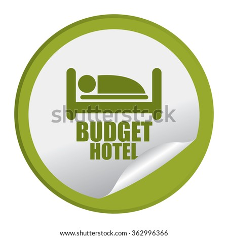 Green Circle Budget Hotel Infographics Flat Icon, Peeling Sticker, Sign Isolated on White Background