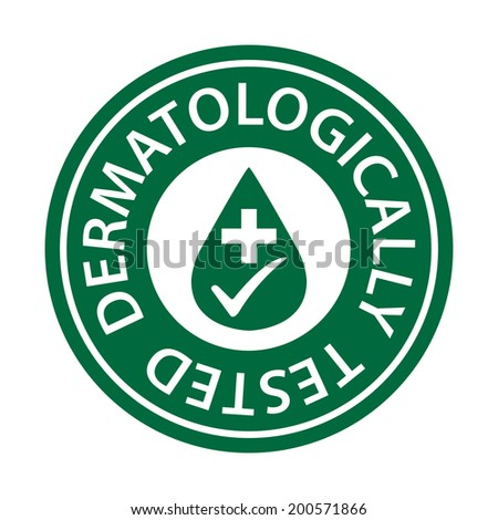 Green Circle Dermatologically Tested Icon, Sticker or Label Isolated on White Background - stock photo