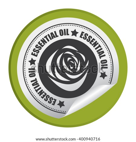 Green Circle Essential Oil Product Label Infographics Flat Icon, Peeling Sticker, Sign Isolated on White Background