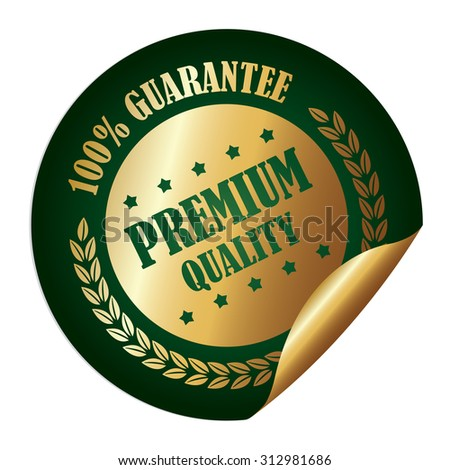Green Circle 100% Guarantee Premium Quality Infographics Peeling Sticker, Label, Icon, Sign or Badge Isolated on White Background