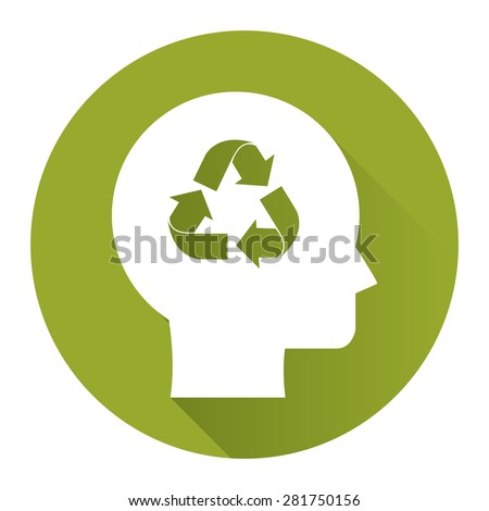 Green Circle Head With Recycle Arrow Flat Long Shadow Style Icon, Label, Sticker, Sign or Banner Isolated on White Background - stock photo