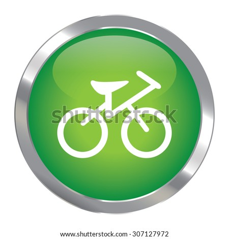 Green Circle Metallic Bicycle Infographics Icon, Sign or Symbol Isolated on White Background  - stock photo