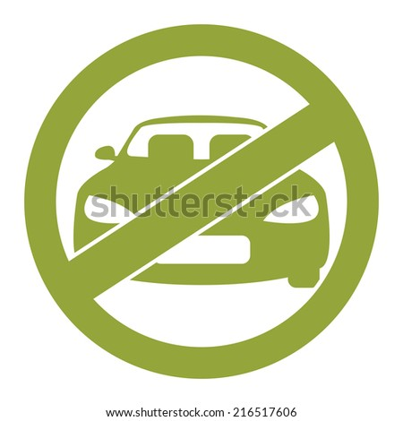 Green Circle No Parking Prohibited Sign, Icon or Label Isolate on White Background  - stock photo