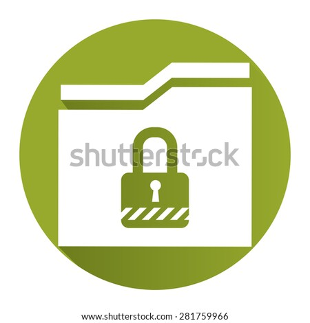 Green Circle Secret Folder or Data Permission Security Long Shadow Style Icon, Label, Sticker, Sign or Banner Isolated on White Background - stock photo
