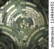 Green circle stone floor tiles - stock photo