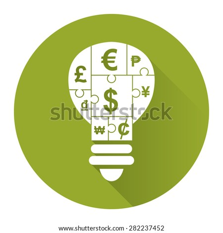 Green Circle Various Currency Sign Puzzle in Light Bulb Flat Long Shadow Style Icon, Label, Sticker, Sign or Banner Isolated on White Background - stock photo