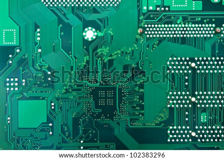 Green circuit board.