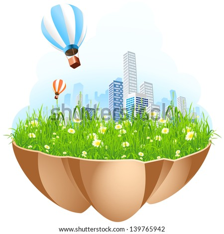 Green City Island with grass flowers and hot-air-balloons - stock photo
