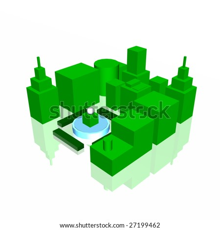 Green City On a White Reflective Background